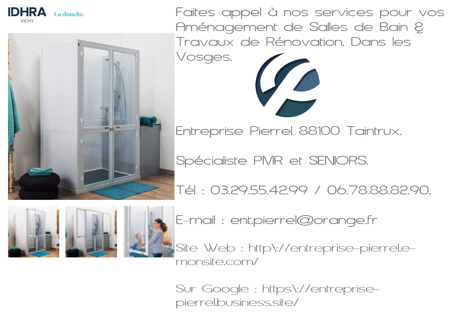 Aménagement de Salles de Bain Entreprise Pierrel 88100 Taintrux. Tel 03.29.55.42.99.