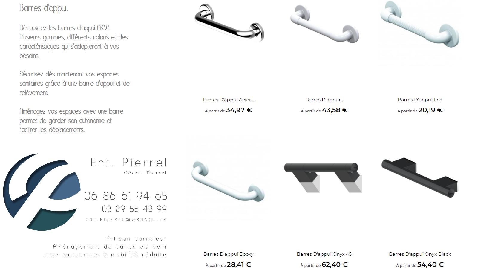 Barres d'appui - Entreprise Pierrel - 88100 Taintrux. Tel 03.29.55.42.99.
