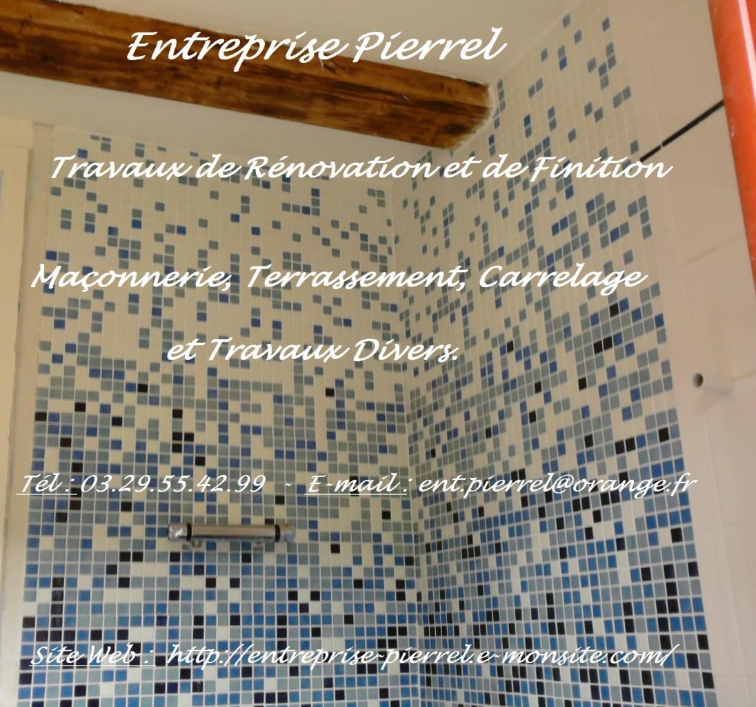 Mosaique sur douche - Entreprise Pierrel - 88100 Taintrux. Tél 03.29.55.42.99.