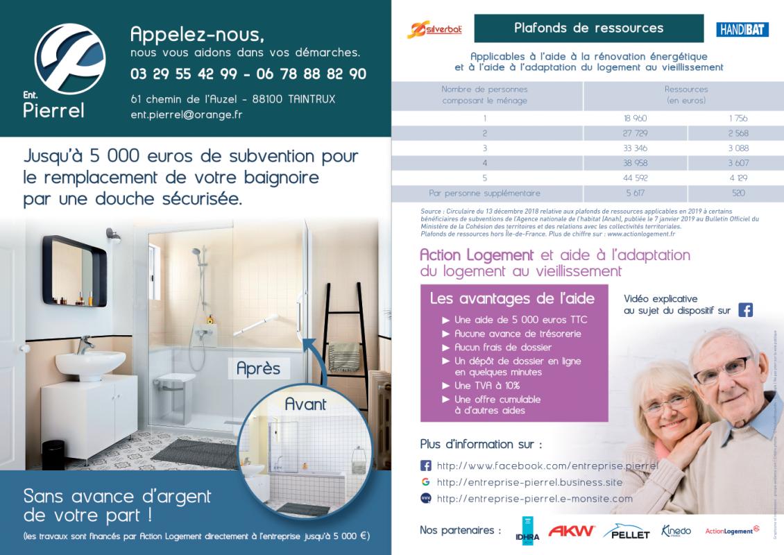 Remplacement baignoire par douche. Entreprise Pierrel 88100 Taintrux. 03-29-55-42-99.